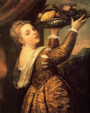 Tiziano Vecellio (Titian) - Girl with a Basket of Fruits (Lavinia) 1555-58