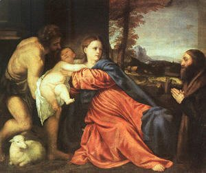 Tiziano Vecellio (Titian) - Holy Family and Donor 1513-14