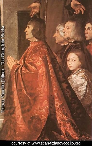 Tiziano Vecellio (Titian) - Madonna with Saints and Members of the Pesaro Family (detail-3) 1519-26