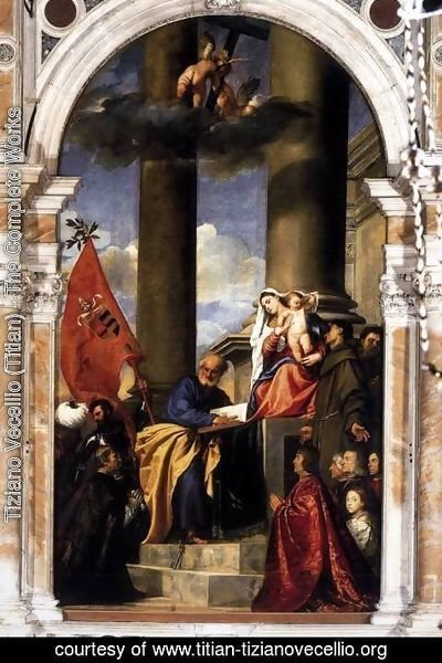 Tiziano Vecellio (Titian) - Madonna with Saints and Members of the Pesaro Family 1519-26