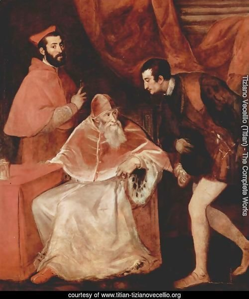 Pope Paul III with his Grandsons Alessandro and Ottavio Farnese 1546