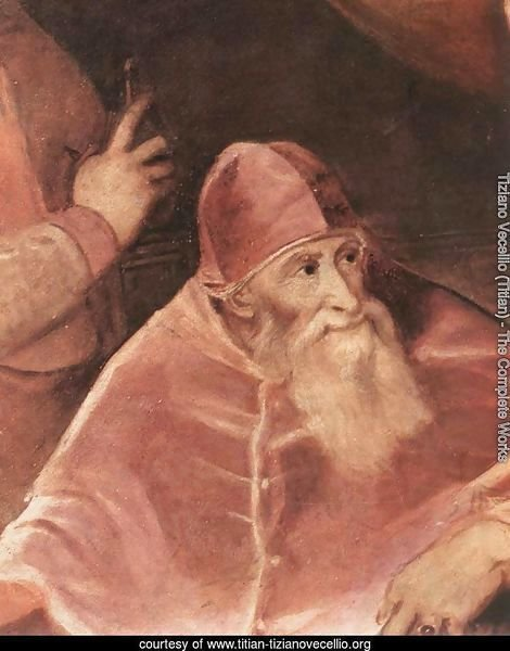Pope Paul III with his Grandsons Alessandro and Ottavio Farnese (detail) 1546