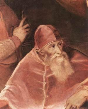 Tiziano Vecellio (Titian) - Pope Paul III with his Grandsons Alessandro and Ottavio Farnese (detail) 1546