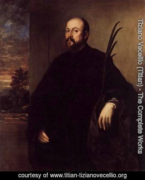 Tiziano Vecellio (Titian) - Portrait of a Man with a Palm 1561