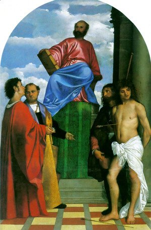 Tiziano Vecellio (Titian) - St. Mark Enthroned with Saints 1510