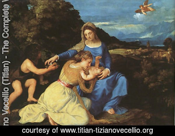 Tiziano Vecellio (Titian) - Madonna and Child with the Young St. John the Baptist and St. Catherine 1530
