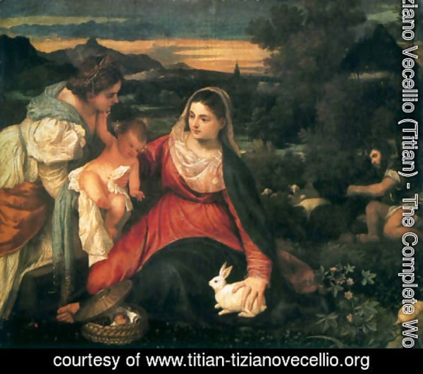 Tiziano Vecellio (Titian) - Madonna and Child with St. Catherine and a Rabbit