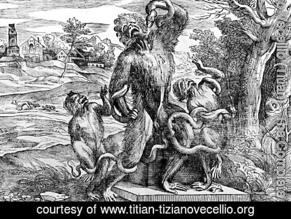 Tiziano Vecellio (Titian) - Caricature of the Laocöon-group