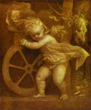 Tiziano Vecellio (Titian) - Cupid with the Wheel of Fortune