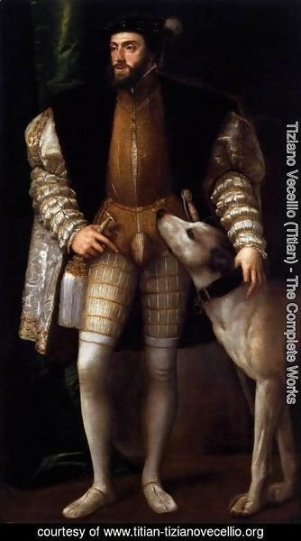 Tiziano Vecellio (Titian) - Charles V Standing with His Dog