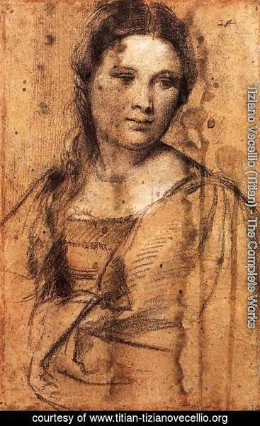 Tiziano Vecellio (Titian) - Portrait of a Young Woman (draw)