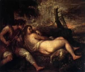 Tiziano Vecellio (Titian) - Shepherd and Nymph