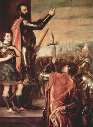 Tiziano Vecellio (Titian) - The Marchese del Vasto Addressing his Troops