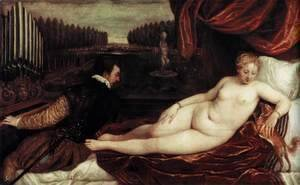 Tiziano Vecellio (Titian) - Venus and an Organist and a Little Dog
