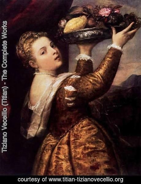 Tiziano Vecellio (Titian) - Young Woman with a Dish of Fruit
