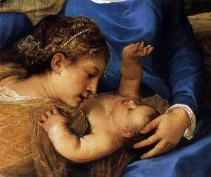 Tiziano Vecellio (Titian) - Madonna and Child with Saints (detail)