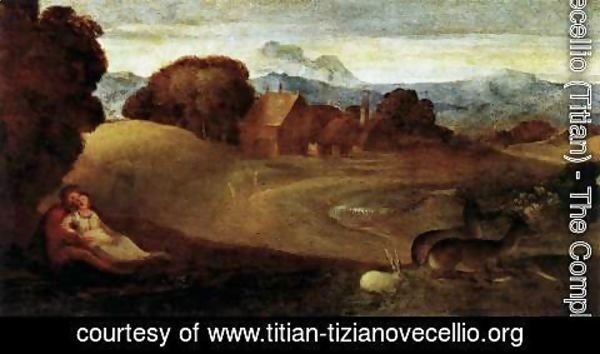Tiziano Vecellio (Titian) - The Birth of Adonis (detail)