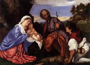 Tiziano Vecellio (Titian) - The Holy Family with a Shepherd 2