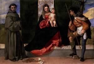 Tiziano Vecellio (Titian) - Madonna and Child with Sts Anthony of Padua and Roch 2