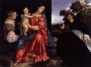 Tiziano Vecellio (Titian) - Madonna and Child with Sts Catherine and Dominic and a Donor 2