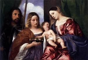 Tiziano Vecellio (Titian) - Madonna and Child with Sts Dorothy and George 2