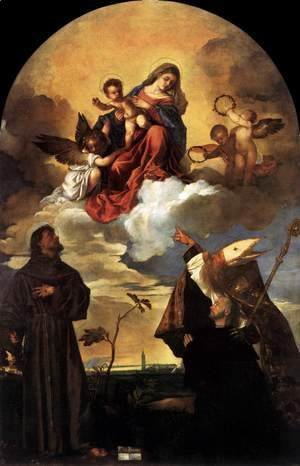 Tiziano Vecellio (Titian) - Madonna in Glory with the Christ Child and Sts Francis and Alvise with the Donor 2