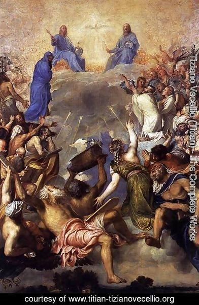 Tiziano Vecellio (Titian) - The Trinity in Glory 2