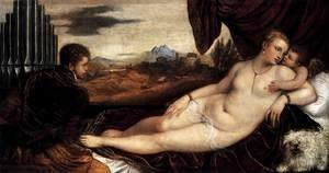 Tiziano Vecellio (Titian) - Venus and Cupid with an Organist 2