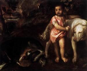 Tiziano Vecellio (Titian) - Youth with Dogs 2