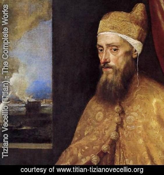Tiziano Vecellio (Titian) - Portrait of the Doge Francesco Venier (detail) 2