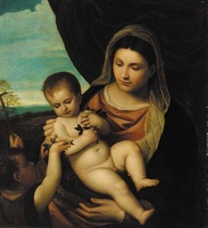 Tiziano Vecellio (Titian) - The Madonna and Child with the infant St. John the Baptist