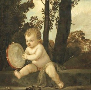 A putto playing the tambourine in a wooded landscape