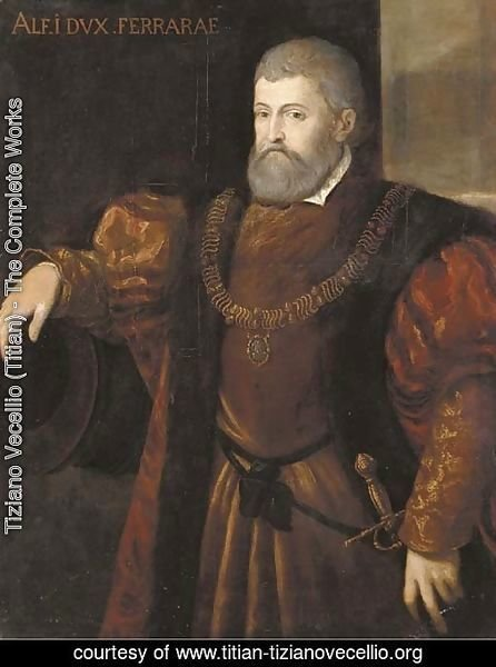 Portrait of Alfonso I, Duca di Ferrara, half-length, wearing a fur trimmed coat, his right arm resting on a cannon barrel
