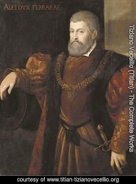 Tiziano Vecellio (Titian) - Portrait of Alfonso I, Duca di Ferrara, half-length, wearing a fur trimmed coat, his right arm resting on a cannon barrel