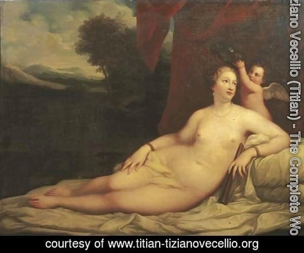 Venus crowned by Cupid, a landscape beyond