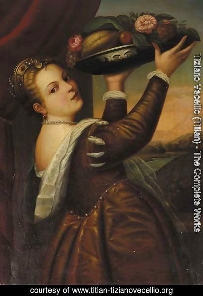 The daughter of the painter, Lavinia, holding a tray of fruit