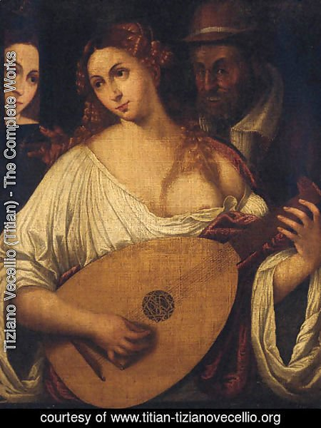 Tiziano Vecellio (Titian) - A woman playing the lute by an old man