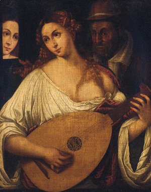 A woman playing the lute by an old man