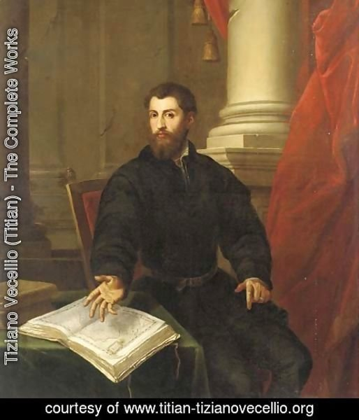 Tiziano Vecellio (Titian) - Portrait of a gentleman, three-quarter-length, in a black coat, seated at a table with an open atlas