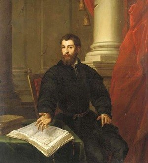 Portrait of a gentleman, three-quarter-length, in a black coat, seated at a table with an open atlas