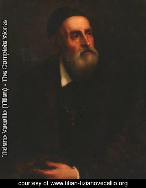 Tiziano Vecellio (Titian) - Portrait of the Artist, half-length in a black coat