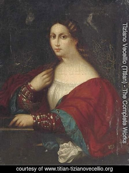 Tiziano Vecellio (Titian) - Portriat of a lady, half-length