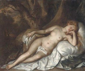 Tiziano Vecellio (Titian) - Study of a sleeping nymph in a woodland landscape