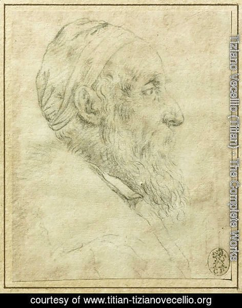 Tiziano Vecellio (Titian) - Self-Portrait in profile