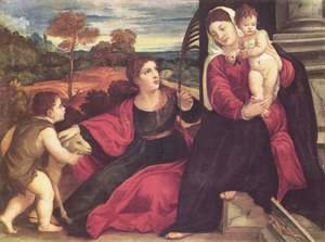Tiziano Vecellio (Titian) - Madonna with St. Agnes and St. John the Baptist