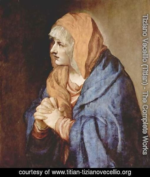 Tiziano Vecellio (Titian) - Our Lady of Sorrows in prayer