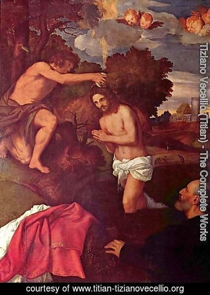 Tiziano Vecellio (Titian) - Baptism of Christ with the client Giovanni Ram