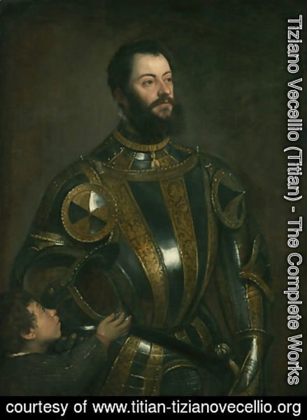 Portrait of Alfonso d'Avalos , in Armor with a Page