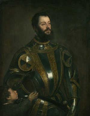 Tiziano Vecellio (Titian) - Portrait of Alfonso d'Avalos , in Armor with a Page