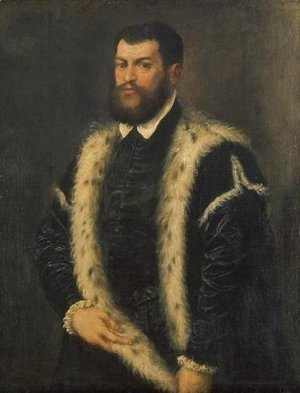 Tiziano Vecellio (Titian) - Portrait of a man with ermine coat